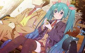Картинка девушка, аниме, арт, пара, парень, Vocaloid
