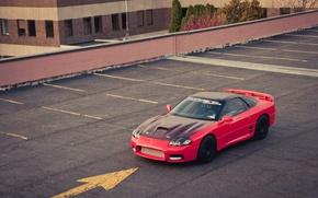 Картинка здание, Mitsubishi, парковка, red, красная, мицубиси, 3000GT