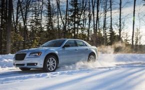 Картинка зима, снег, природа, седан, Chrysler 300