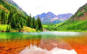 Картинка горы, Colorado, Maroon Bells, дно, ущелье, озеро, вода, лес, скалы, камни, США