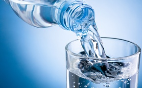 Картинка water, mineral, commercial bottle, glass of water