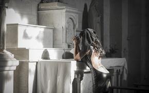 Картинка девушка, церковь, траур