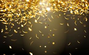 Обои glitter, сияние, конфетти, фон, золото, sparkle, confetti, блестки, glow, golden