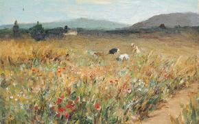 Картинка пейзаж, горы, картина, Марсель Диф, Фигуры среди цветов в Провансе
