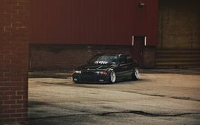 Картинка тюнинг, бмв, BMW, черная, black, stance, e36