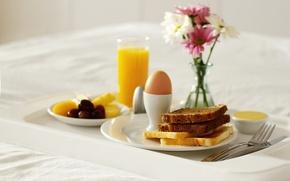 Картинка ваза, цветы, тосты, сок, сладкое, хлеб, еда, завтрак, яйцо, апельсин. апельсиновый