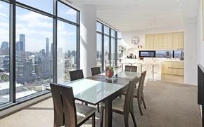 Картинка дизайн, стиль, интерьер, кухня, мегаполис, столовая, жилая комната, городская квартира, luxury apartment in a great ...