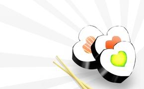 Картинка еда, минимализм, палочки, Суши