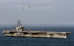 Картинка оружие, армия, navy, USS Ronald Reagan (CVN 76), Four E-2C Hawkeyes