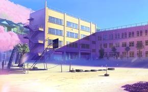 Картинка япония, здания, лепестки, сакура, арт, розовые, школа, 5 сантиметров в секунду, Макото синкай, площадка, цветущая, …