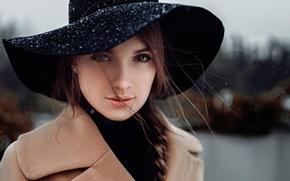Картинка снег, портрет, шляпка, Россия, Анна, локоны, Георгий Чернядьев