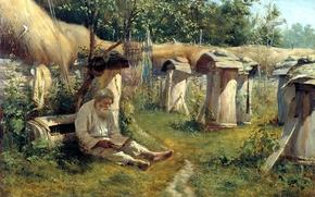 Картинка настроение, картина, старичок, пасечник, Богатов Николай