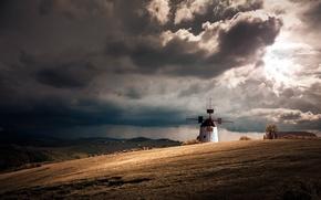 Картинка поле, пейзаж, дождь, мельница