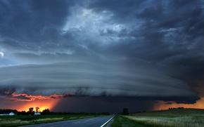 Обои буря, дорога, облака