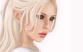 Картинка девушка, лицо, белый фон, эльфийка, рендер