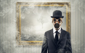 Картинка дым, рама, шляпа, костюм, галстук, противогаз, Сталкер