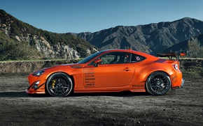 Картинка Orange, Toyota, Mountain, Style, Tuning, Wheels, Rims, Widebody, FR-S, Scion, Spoilers