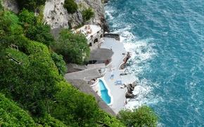 Картинка море, природа, фото, побережье, Италия, сверху, Amalfi