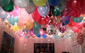 Картинка комната, праздник, шары, надувные, день рождение