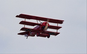 Картинка небо, ретро, полёт, самолёт, триплан, Fokker Dr.I