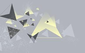 Картинка желтый, серый, треугольники