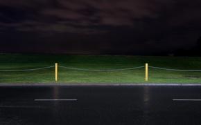 Картинка дорога, ночь, забор, минимализм
