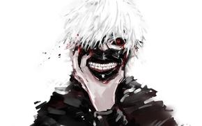 Картинка маска, Art, белые волосы, красный глаз, Kaneki Ken, Токийский гуль, Канеки Кен, Tokyo ghoul