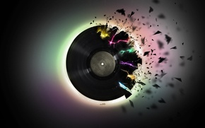 Обои пластинка, куски, винил, музыка, черный