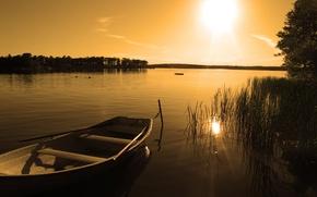 Картинка закат, природа, озеро, лодка