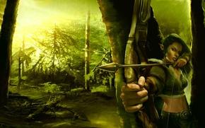 Картинка лес, зеленый, лучница, арт, forest, art, elf, archer, green эльфийка, fantase