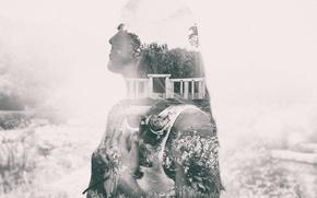 Картинка девушка, волосы, роза, руки, сад