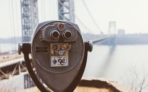 Картинка USA, bridge, New York, bokeh, New Jersey, America, George Washington Bridge, United States of America, …