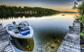 Картинка небо, облака, деревья, пейзаж, природа, озеро, лодка