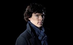 Картинка актер, сериал, черный фон, Бенедикт Камбербэтч, Benedict Cumberbatch, холмс, holmes, Sherlock, Шерлок, bbc