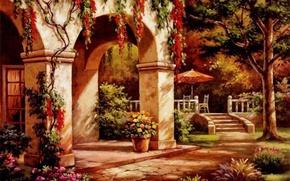 Картинка осень, дом, картина, арка, живопись, фасад, painting, Sung Kim