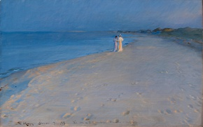 Картинка море, лето, пейзаж, картина, вечер, прогулка, Peder Severin Krøyer