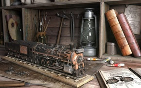 Картинка abstract, photography, paint, glasses, books, tools, trains, brushes, craftsman, work bench, crafts, hobbies