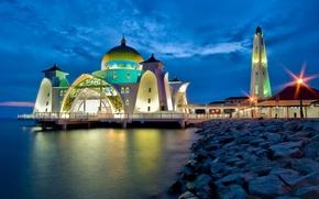 Картинка Пляж, Вечер, мечеть