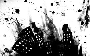 Картинка краски, рисунок, окна, здания, Город, монохромный