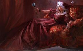 Картинка девушка, праздник, новый год, рождество, платье, жезл, королева, art