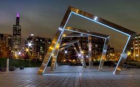 Картинка ночь, lights, огни, парк, Чикаго, USA, США, Иллинойс, Chicago, Illinois, night, Mary Bartelme Park