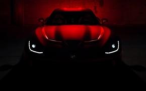 Картинка крыша, красный, темнота, фары, капот, Додж, Dodge, суперкар, полумрак, Viper, передок, GTS, Вайпер, SRT