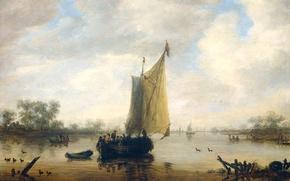 Картинка пейзаж, лодка, картина, парус, Вид Реки, Jeronymus van Diest II