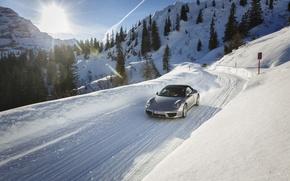 Картинка дорога, солнце, снег, 911, Porsche, Порше, передок