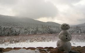 Обои снеговик, Зима