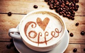 Обои любовь, сердце, кофе, зерна, чашка, love, heart, coffee