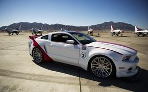 Картинка авто, тюнинг, мустанг, истребители, форд, Ford Mustang GT, US Air Force Thunderbirds Edition