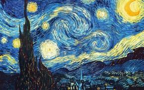 Обои Картина, Звездная ночь, ван Гога