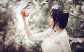 Картинка взгляд, девушка, яблоко, азиатка