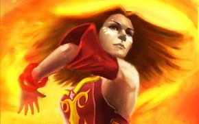 Картинка девушка, огонь, арт, Slayer, Dota 2, Lina, DigitalSashimi